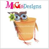 Plantador elegante do metal da decoração do jardim da coruja do modelo de forma