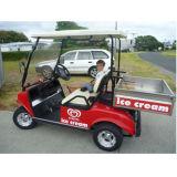 Carro de golfe híbrido do gerador com o compartimento dianteiro do caminhão do armazenamento e a caixa traseira da carga