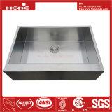 Bassin de cuisine fabriqué à la main de cuvette d'acier inoxydable d'avant simple de tablier