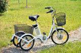 Bicyclette électrique à 3 roues à chaud avec gros paniers pour aîné