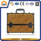 Het Geval van de Trein van de Make-up van het Leer van de luipaard met Slot (hb-1201)