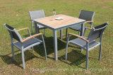 Patio-Speisetisch-Stuhlfsc-hölzerne graue stapelnde Aluminiumriemen-europäische moderne im Freienmöbel