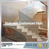 Scale di pietra di marmo grige/punto & colonna montante per il pavimento/interiore Upstair
