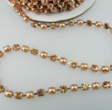chaîne de cuvette de Rhinestone de cristal de 4mm en roulis pour la robe, chaussures, collier, bracelet