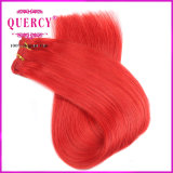 O cabelo humano do Virgin brasileiro vermelho quente colorido tece extensões do cabelo reto das tramas