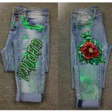 Jeans lavati Nizza ricamo di stampa delle perle dei Sequins delle donne diritto