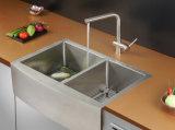 Bassin de cuisine fabriqué à la main de cuvette de double de radius de Fornt de tablier d'acier inoxydable
