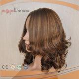 Remy 인간적인 금발 머리 파도치는 꼬부라진 가발 유형 실크 최고 가발