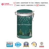 クリスマスデザイン(D001-V1)の茶またはコーヒーのための円形の錫ボックス