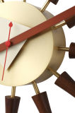 Spindle Walnut Bronse Brass Wall Clock