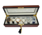 6 parti Cherry Wood Watch Box Display Caso e Storage Organizer