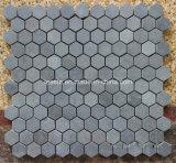 普及したCalacattaの金の六角形の大理石のモザイクベニヤ