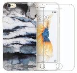 Caso suave de la cubierta del caucho TPU del gel de la piedra de mármol del diseño + vidrio Tempered