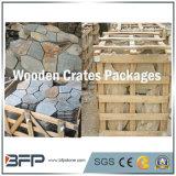 L'ardesia di legno gialla ingranata copre di tegoli la pietra per lastricati della bandierina irregolare