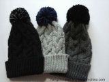 Женщина Twisted Knitted Winter Hat с Pompom (PTLH16013)