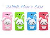 Samsung S7の端(XSK-014)のための微笑の点のフォールドの耳のウサギのシリコーンの携帯電話の箱