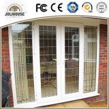 2017 puertas de cristal plásticas del marco de la fibra de vidrio barata UPVC/PVC del precio de la fábrica del bajo costo con los interiores de la parrilla para la venta