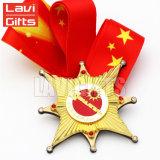 Медаль медальона пожалования спорта масленицы плакировкой золота сплава цинка горячего сбывания выполненное на заказ с тесемкой