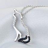 Pendente genuino della collana del lupo di urlo dell'argento sterlina 925 per i monili animali originali degli uomini delle donne