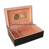 Коробка Humidor хранения сигары/сигареты черной отделки рояля деревянная упаковывая