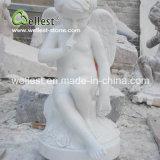 Escultura de piedra natural de la piedra del ángel para el jardín y la fuente