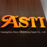 Sinalização de letras de resina de alta qualidade, cartaz de propaganda LED de cartaira frontal