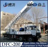 буровая установка установленная тележкой Dfc-200 200m, гидровлическая роторная буровая установка с битом насоса грязи Tricone