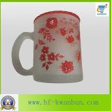 Taza de cristal de la venta del café caliente de oro del té con vajilla de la etiqueta