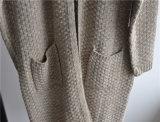 Winter-Damenlongline-geöffnete Wolljacke mit Tasche