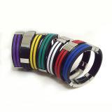2 righe d'avanguardia braccialetto del silicone della clip dell'acciaio inossidabile