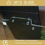 vidro temperado de 10mm com furos da dobradiça, do parafuso e do fechamento