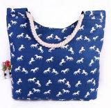 印刷されたキャンバスのショルダー・バッグの方法大きいミイラ袋の綿ロープのハンドバッグ浜袋