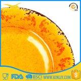 Articles en plastique de plaque de dîner de vaisselle faite sur commande jaune de mélamine pour la sublimation