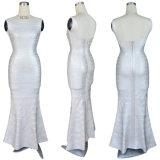 Robe de soirée élevée de mariage de taille de long bandage blanc