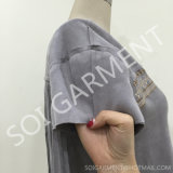 Dame-neue Art-Kurzschluss-Hülse eingesäumte Bluse mit Stickerei (BL-24)