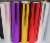 Glod brillo y colores diferentes PET metalizado lamina de la película termal
