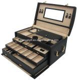 Случай коробки ювелирных изделий съемных подносов шикарный многофункциональный роскошный