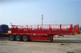 De 3 essieux de col de cygne de lit plat remorque rouge semi avec le panneau avant