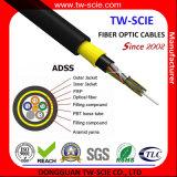 Palmo largo ADSS del cable óptico de la fibra de la alta calidad del HDPE 24