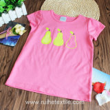 Cotone 100% Popular Pink Print Short Sleeve T-Shirt per Girls