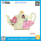 Teapot cerâmico do vintage formal branco do Confetti de Rosa