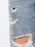 Frauen-Denim-Jeans mit funkelnden Rhinestone-Verschönerungen