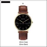 Orologio del cinturino di cuoio di Watches Quartz di modo dell'acciaio inossidabile di sport di promozione della signora Men