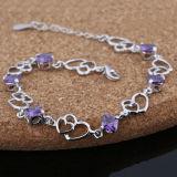Violetkleurige van 925 van vrouwen de Echte Zilveren Dubbele Armband van het Hart