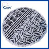 100%年の綿のふさの円形のビーチタオル(QDE445)