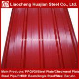 Hoja de acero revestida del material para techos del color acanalado