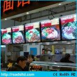 Ristorante degli alimenti a rapida preparazione che fa pubblicità alla casella chiara del LED della scheda di alluminio del menu
