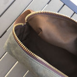Kit Dopp en toile cirée avec poignée en cuir