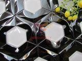Sreelの黒いステンレス製の組合せの白いガラスモザイク(CFM1027)