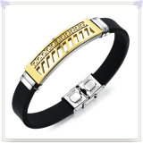 ステンレス鋼の宝石類の革ブレスレットのシリコーンのブレスレット(LB582)